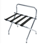 CSL Foodservice & Hospitality S1055C-BL-1 Luggage Rack w/ Black Straps & High Back Wall Guard, Brushed Chrome