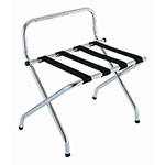 CSL S1055C-BL-1 Luggage Rack w/ Black Straps & High Back Wall Guard, Brushed Chrome