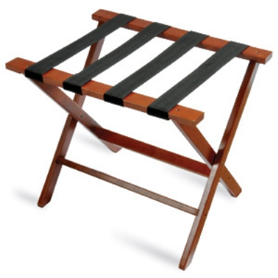 CSL Foodservice & Hospitality TLR-100D-1 American Hardwood Luggage Rack w/ Black Straps, Dark Oak