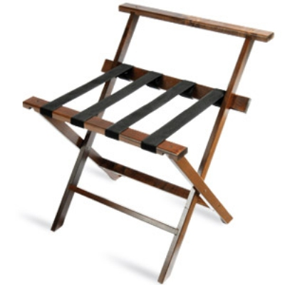 CSL TLR-100WBD-1 Luggage Rack w/ Black Straps & High Back, Dark Oak