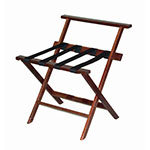 CSL TLR-100WBM-1 Luggage Rack w/ Black Straps & High Back, Mahogany