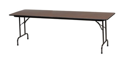 "Royal Industries CORBT3096 Folding Rectangular Banquet Table, 30 x 96"" L, Walnut Finish"