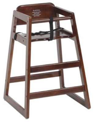 Royal Industries ROY702W Youth High Chair w/ Nylon Strap & Seat Belt, 3/4-in Walnut Hardwood