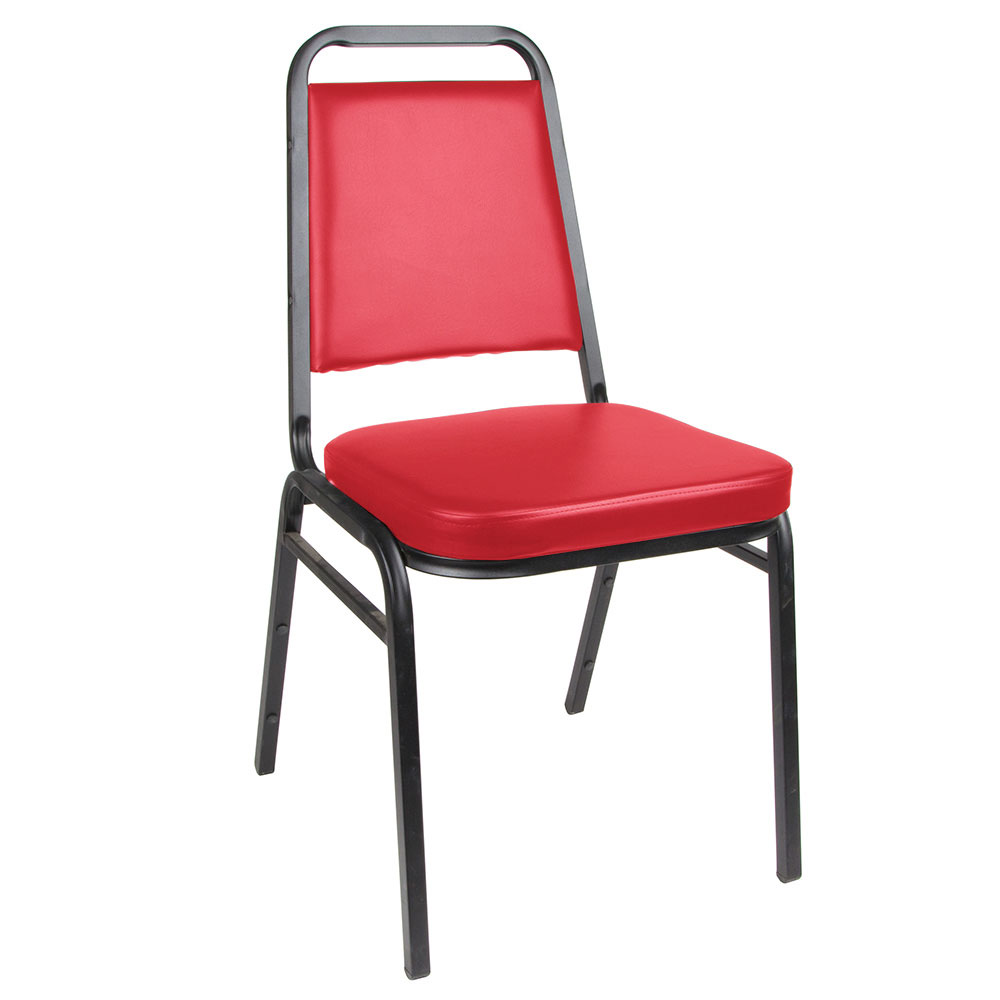 Royal Industries ROY 718 R Square Back Stack Chair w/ Steel Frame & Red Vinyl Upholstery