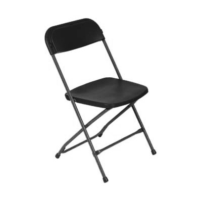 Royal Industries ROY 724 B Outdoor Folding Chair w/ Steel Frame, Plastic Seat & Back, Black