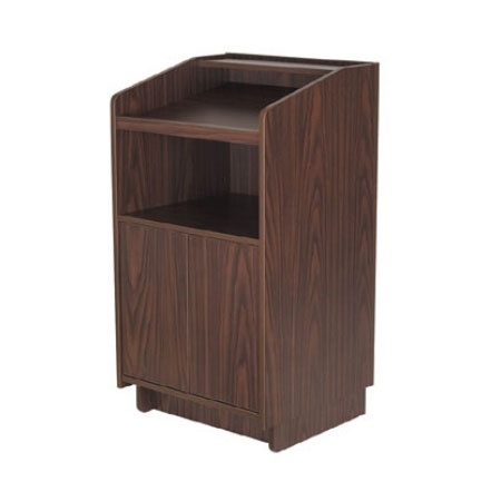 Royal Industries ROY 734 W 46-in Assembled Podium w/ Casters & Walnut Melamine Finish