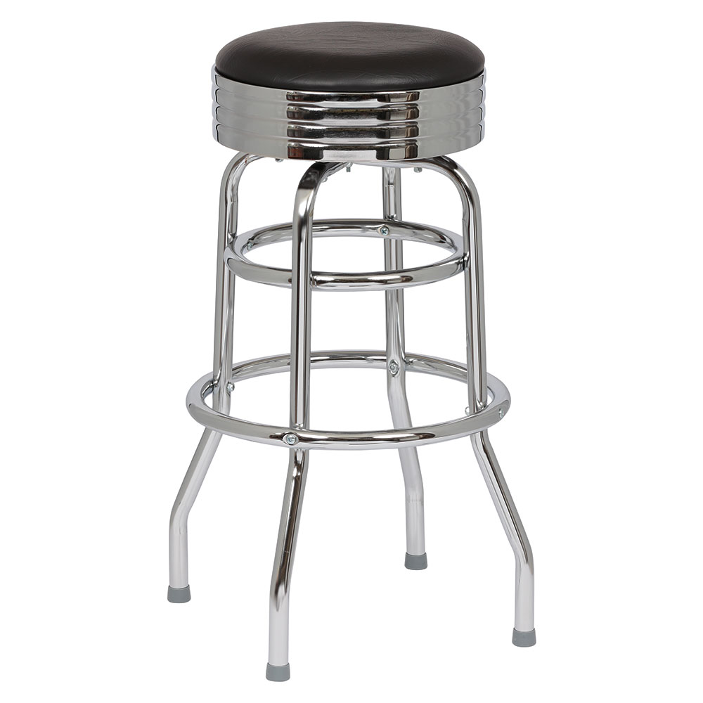 Royal Industries ROY 7710-2 B Assembled Classic Diner Bar Stool w/ Chrome Frame & Black Seat
