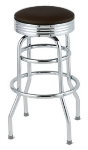 Royal Industries ROY 7710-2 BRN Assembled Classic Diner Bar Stool w/ Chrome Frame & Brown Seat