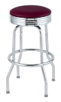 Royal Industries ROY 7710-2 CRM Assembled Classic Diner Bar Stool w/ Chrome Frame & Crimson Seat