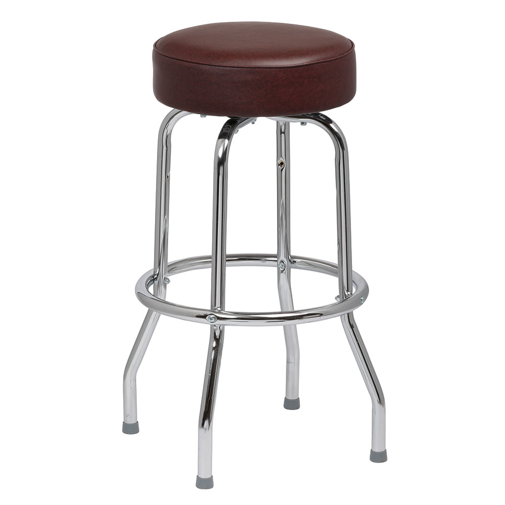 Royal Industries ROY 7711-2 BRN Assembled Single Ring Bar Stool w/ Chrome Frame & Brown Seat
