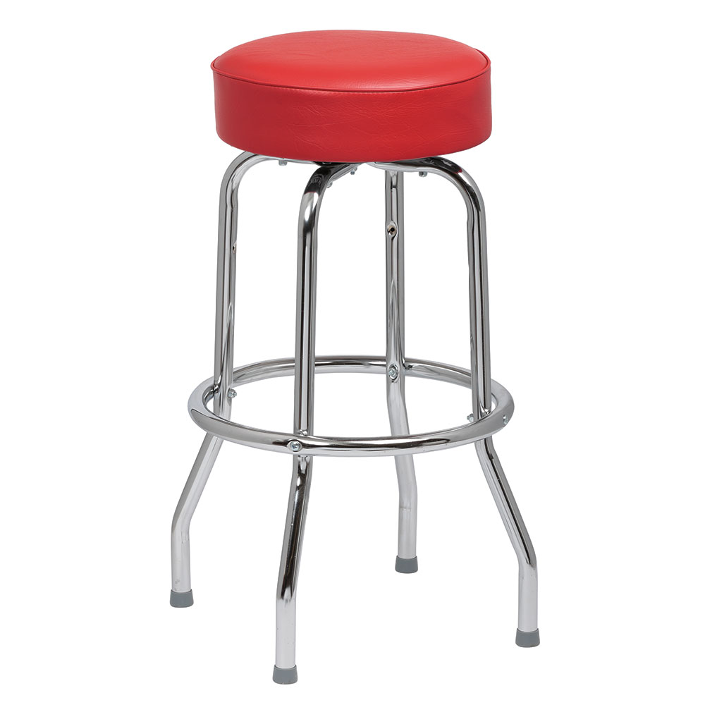 Royal Industries ROY 7711-2 R Assembled Single Ring Bar Stool w/ Chrome Frame & Red Seat