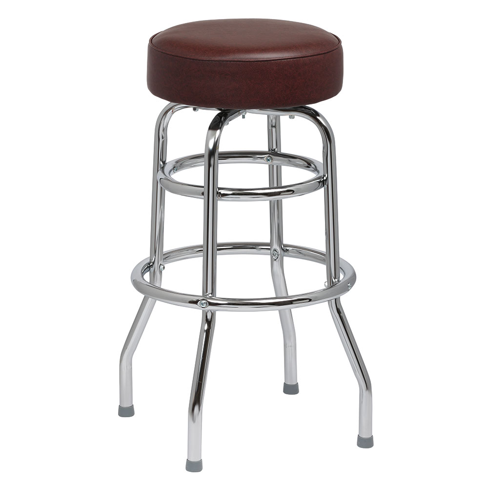 Royal Industries ROY 7712-2 BRN Assembled Double Ring Bar Stool w/ Chrome Frame & Brown Seat
