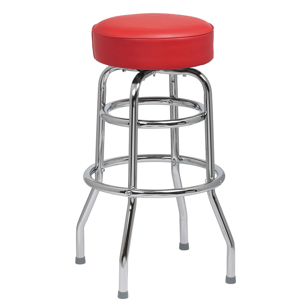 Royal Industries ROY 7712 R Double Ring Bar Stool w/ Chrome Frame & Red Vinyl Seat