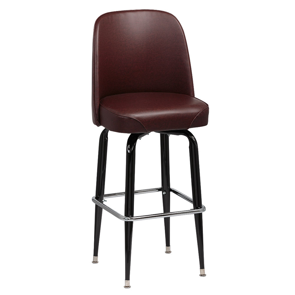 Royal Industries Roy 7714 Brn Black Square Frame Bar Stool