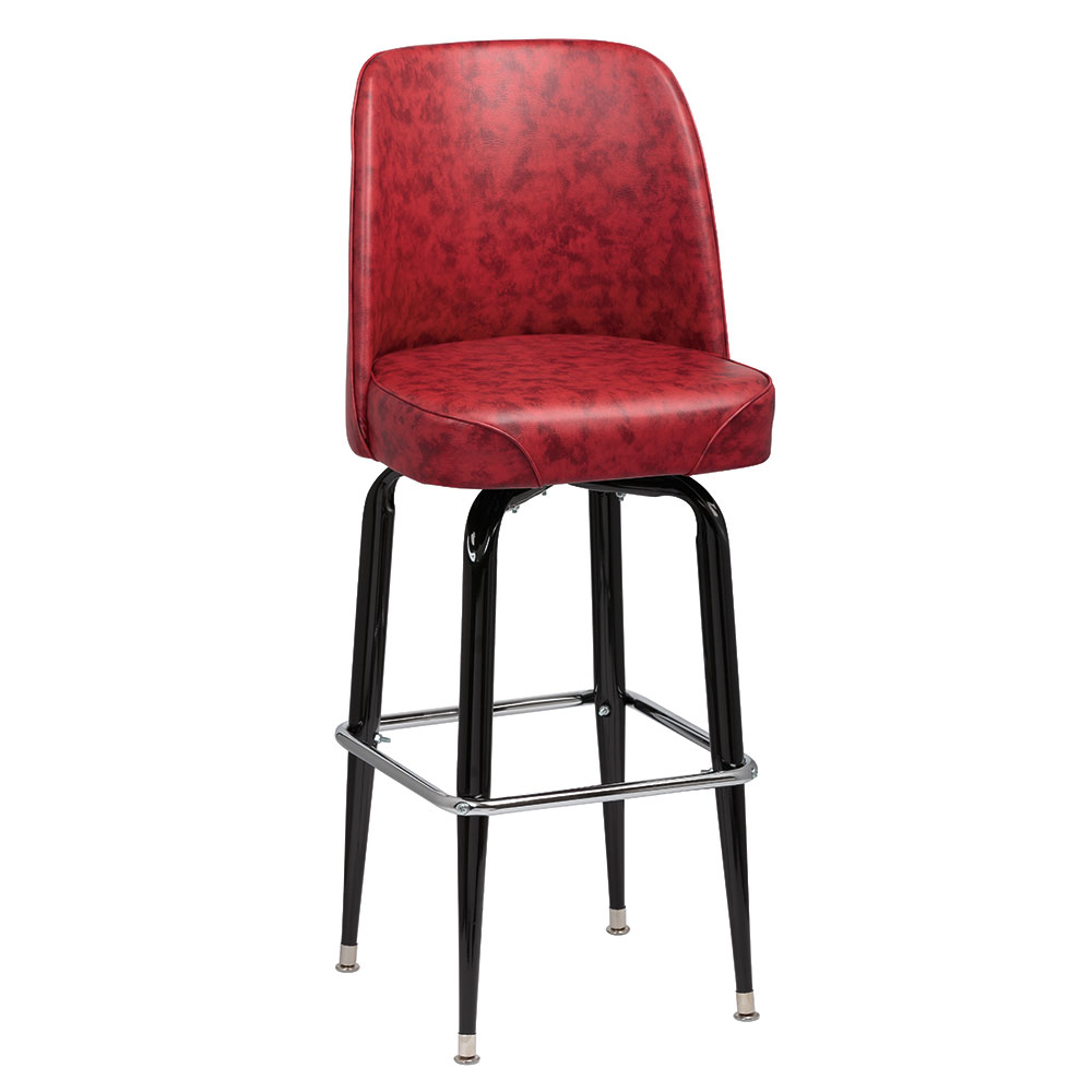 Royal Industries ROY 7714-1 CRM Assembled Black Square Frame Barstool w/ Crimson Vinyl Bucket Seat