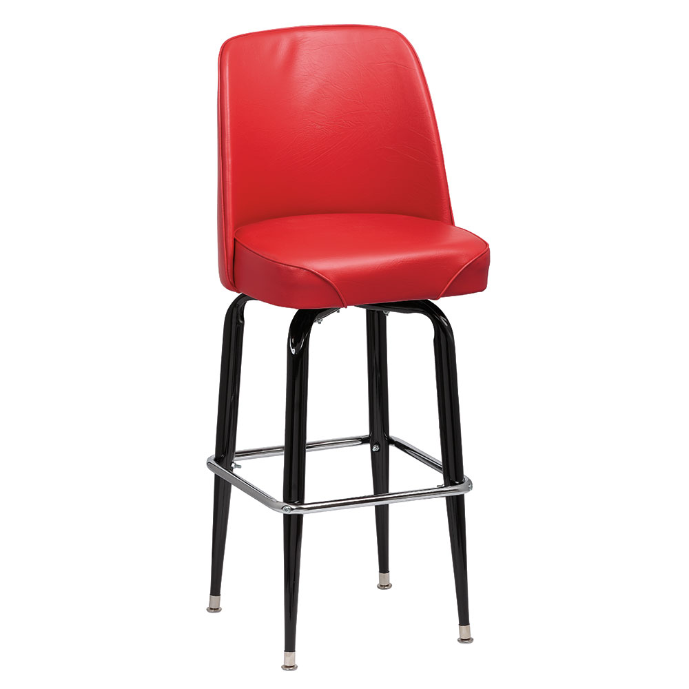 Royal Industries ROY 7714 R Black Square Frame Bar Stool w/ Red Vinyl Bucket Seat