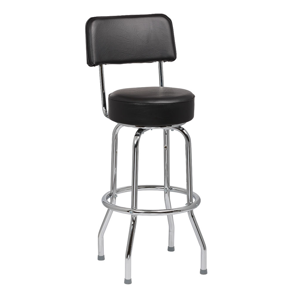 Royal Industries ROY 7715 B Open Back Single Ring Bar Stool w/ Chrome Frame & Black Upholstery