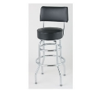 Royal Industries ROY 7716 BRN Open Back Double Ring Bar Stool w/ Chrome Frame & Brown Upholstery