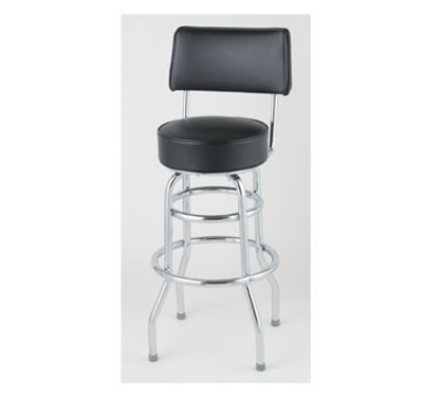 Royal Industries ROY 7716 B Open Back Double Ring Bar Stool w/ Chrome Frame & Black Upholstery