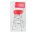Royal Industries ROY 7716 R Open Back Double Ring Bar Stool w/ Chrome Frame & Red Upholstery
