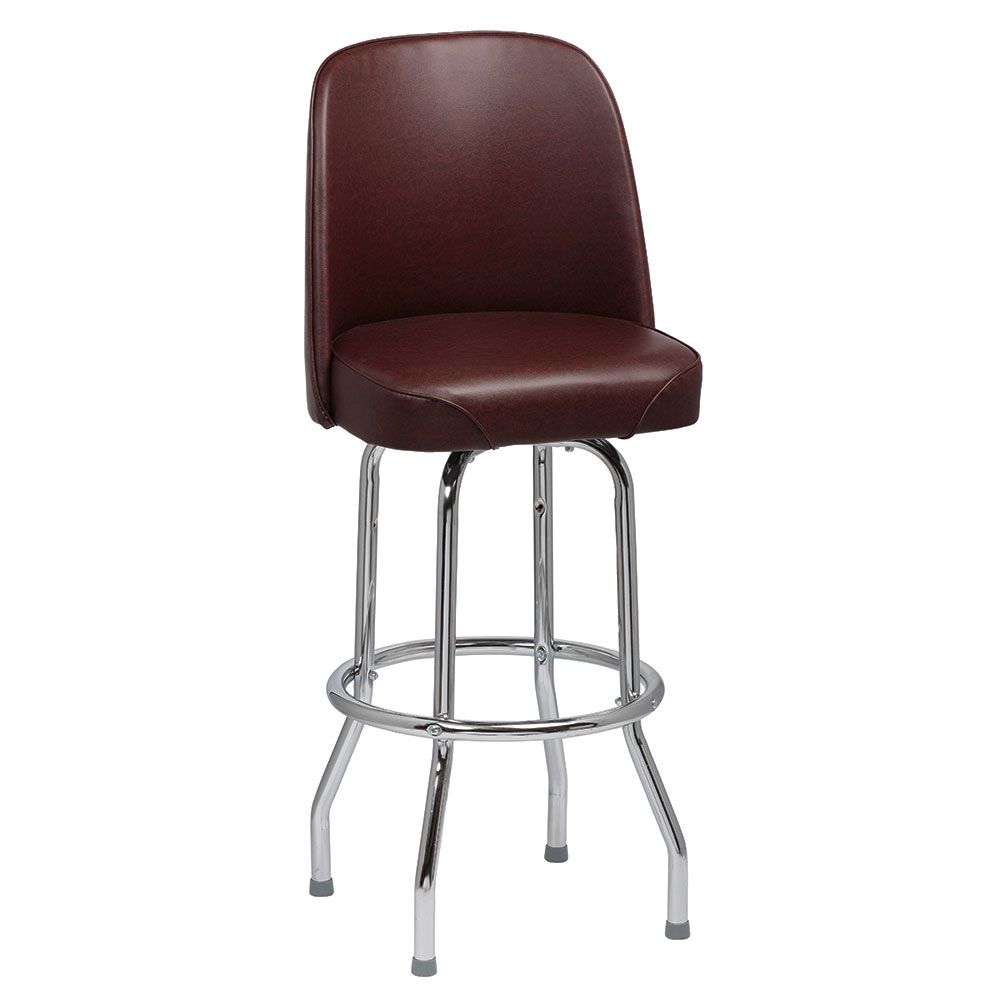 Royal Industries ROY 7721 BRN Single Ring Bar Stool w/ Chrome Frame & Brown Vinyl Bucket Seat