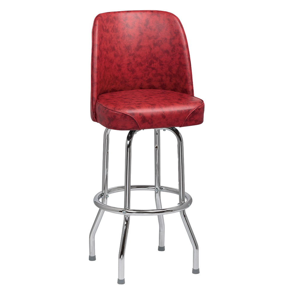 Royal Industries ROY 7721 CRM Single Ring Bar Stool w/ Chrome Frame & Crimson Vinyl Bucket Seat