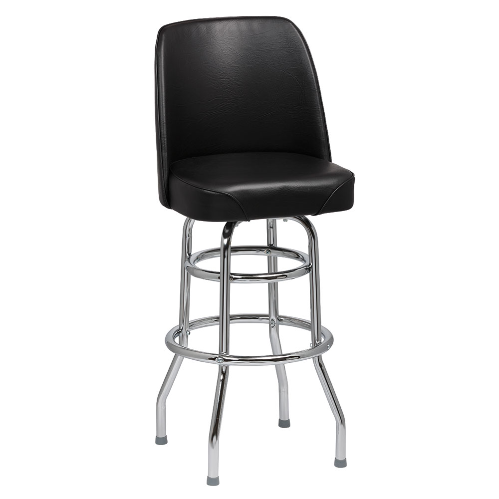 Royal Industries ROY 7722 B Double Ring Bar Stool w/ Chrome Frame & Black Vinyl Bucket Seat