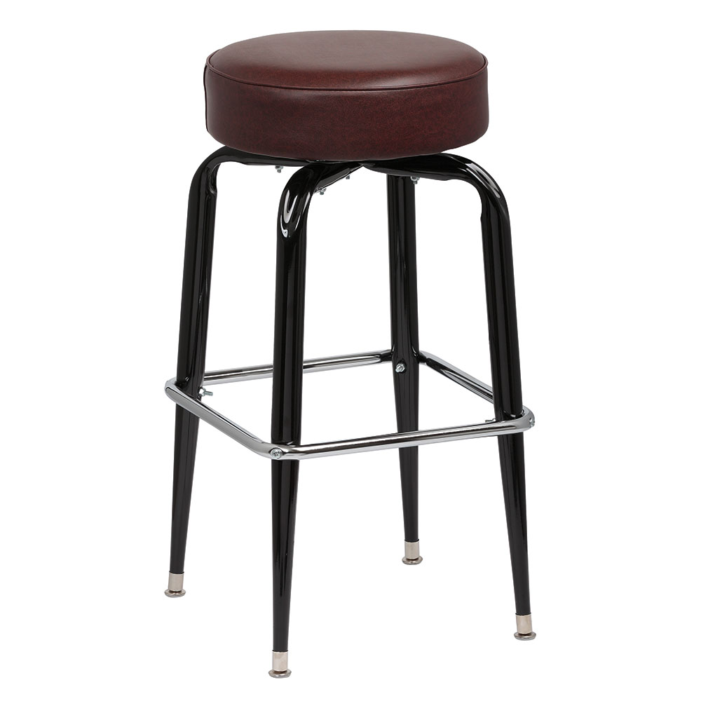 Royal Industries ROY 7723 BRN Black Square Frame Bar Stool w/ Standard Brown Vinyl Seat