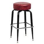 Royal Industries ROY 7723 CRM Black Square Frame Bar Stool w/ Standard Crimson Vinyl Seat