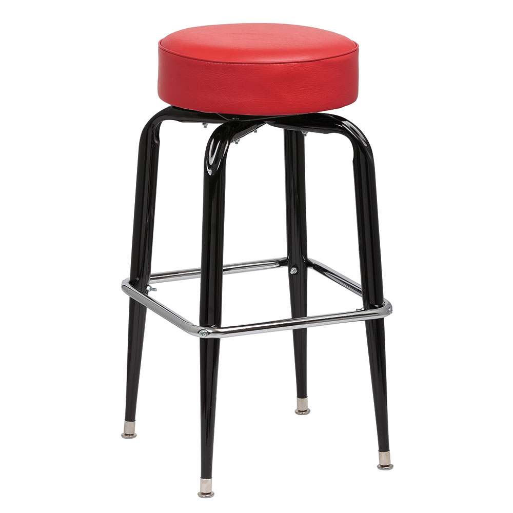 Royal Industries ROY 7723 R Black Square Frame Bar Stool w/ Standard Red Vinyl Seat