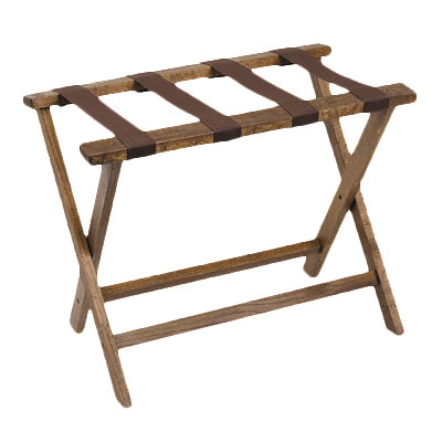 "Royal Industries ROY 778 19.5"" Compact Wood Luggage Rack w/ Walnut Finish"