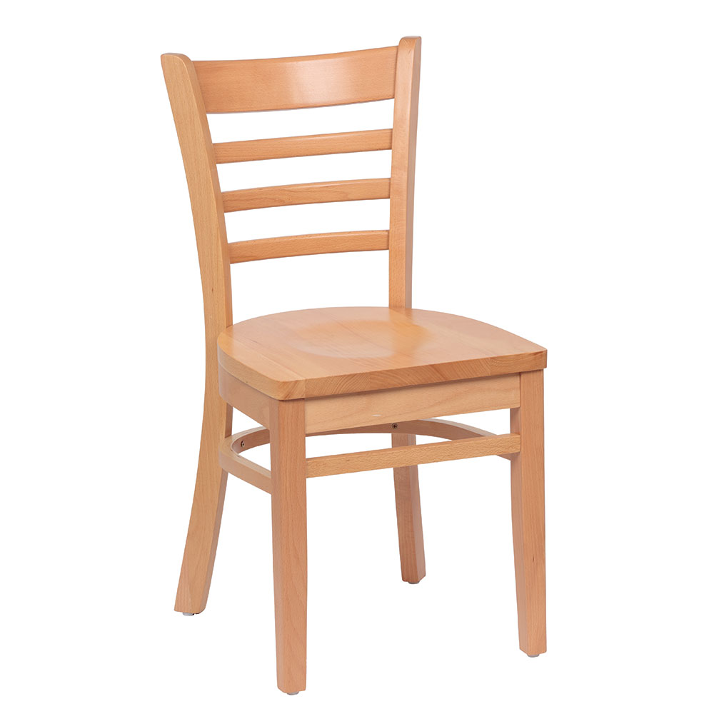 Royal Industries ROY 8001 N Ladder Back Wood Chair w/ Hardwood Seat & Natural Finish