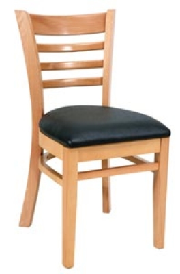 Royal Industries ROY 8001 N CRM Ladder Back Wood Chair w/ Natural Finish & Crimso