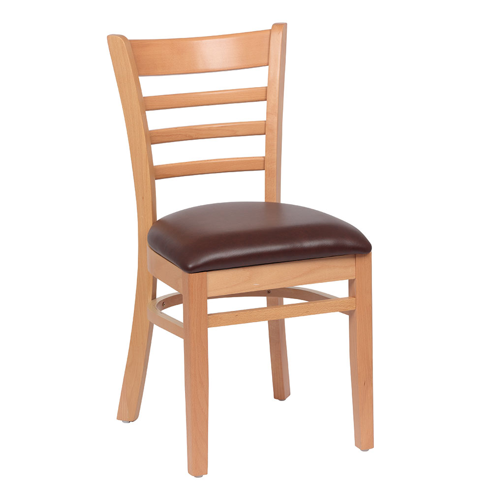 Royal Industries ROY 8001 N BRN Ladder Back Wood Chair w/ Natural Finish & Brown Upholstered Seat