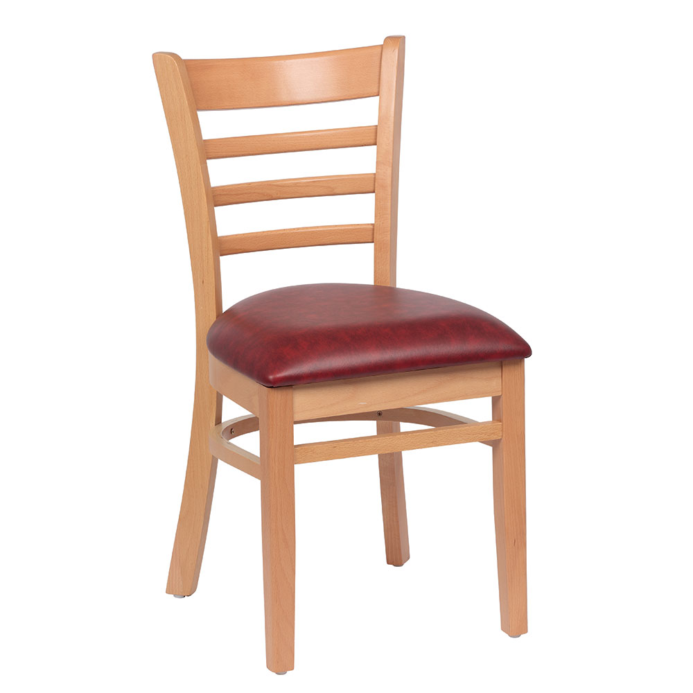 Royal Industries ROY 8001 N CRM Ladder Back Wood Chair w/ Natural Finish & Crimson Seat