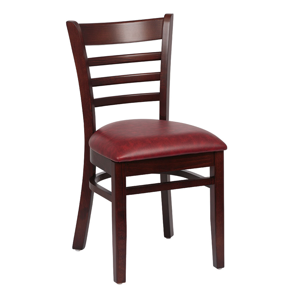 Royal Industries ROY 8001 W CRM Ladder Back Wood Chair w/ Walnut Finish & Crimson Upholstered Seat