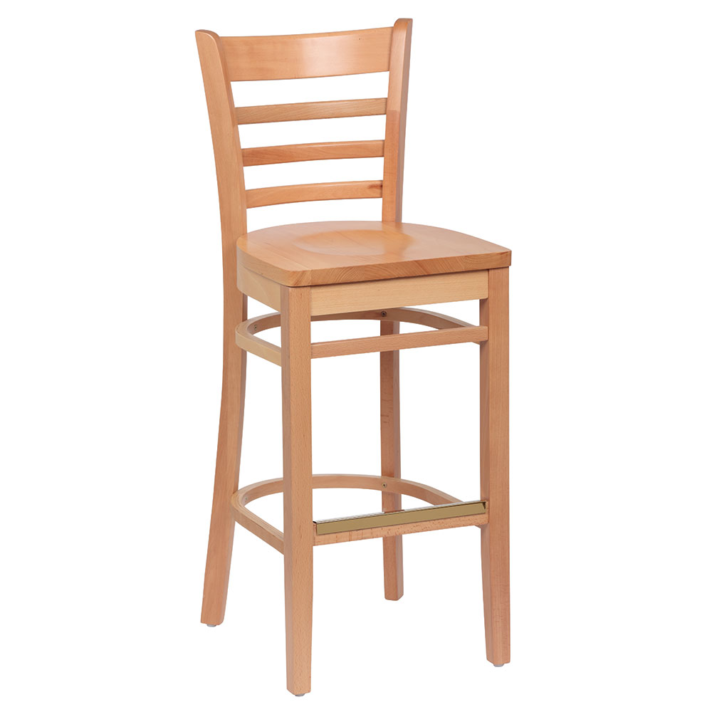 Royal Industries ROY 8002 N Ladder Back Wood Bar Stool w/ Hardwood Seat & Natural Finish