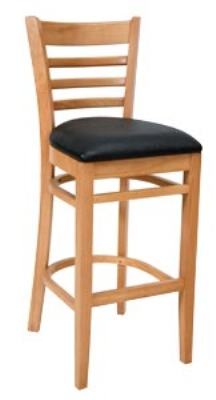 Royal Industries ROY 8002 N BRN Ladder Back Bar Stool w/ Natural Finish & Brown Upholstered Seat