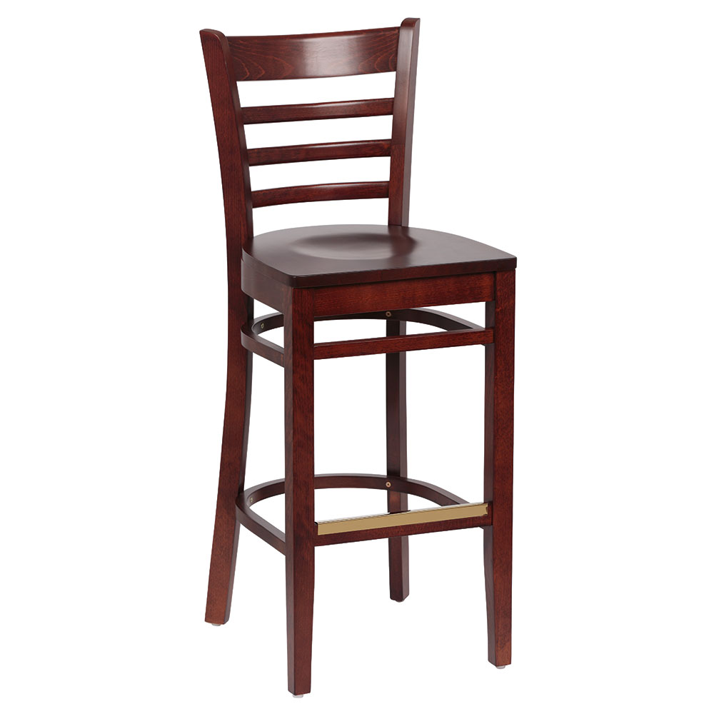 Royal Industries ROY 8002 W Ladder Back Bar Stool w/ Hardwood Seat & Walnut Finish