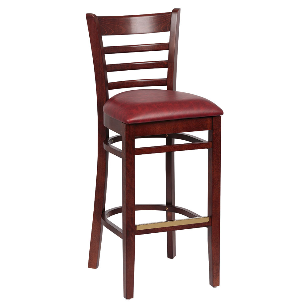 Royal Industries ROY 8002 W CRM Ladder Back Bar Stool w/ Walnut Finish & Crimson Upholstered Seat