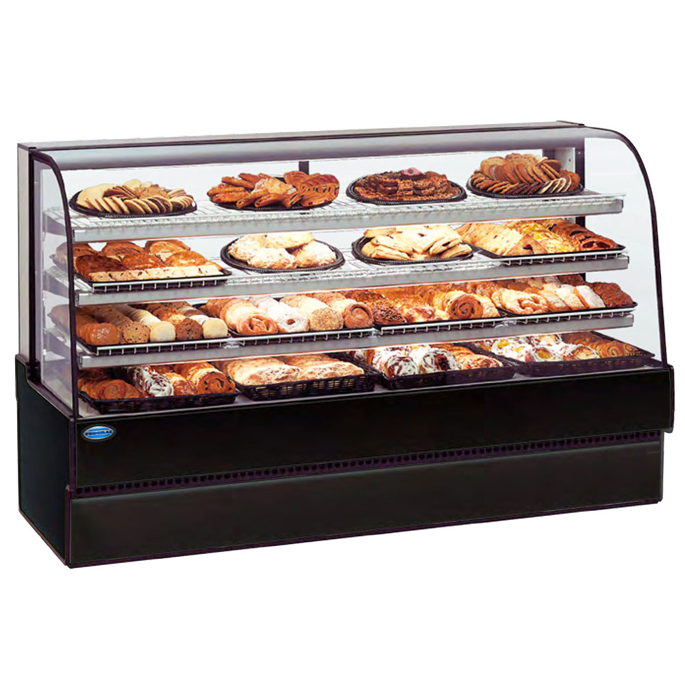 """Federal CGD7748 77"""" Full Service Bakery Case w/ Curved Glass - (4) Levels, 120v"""
