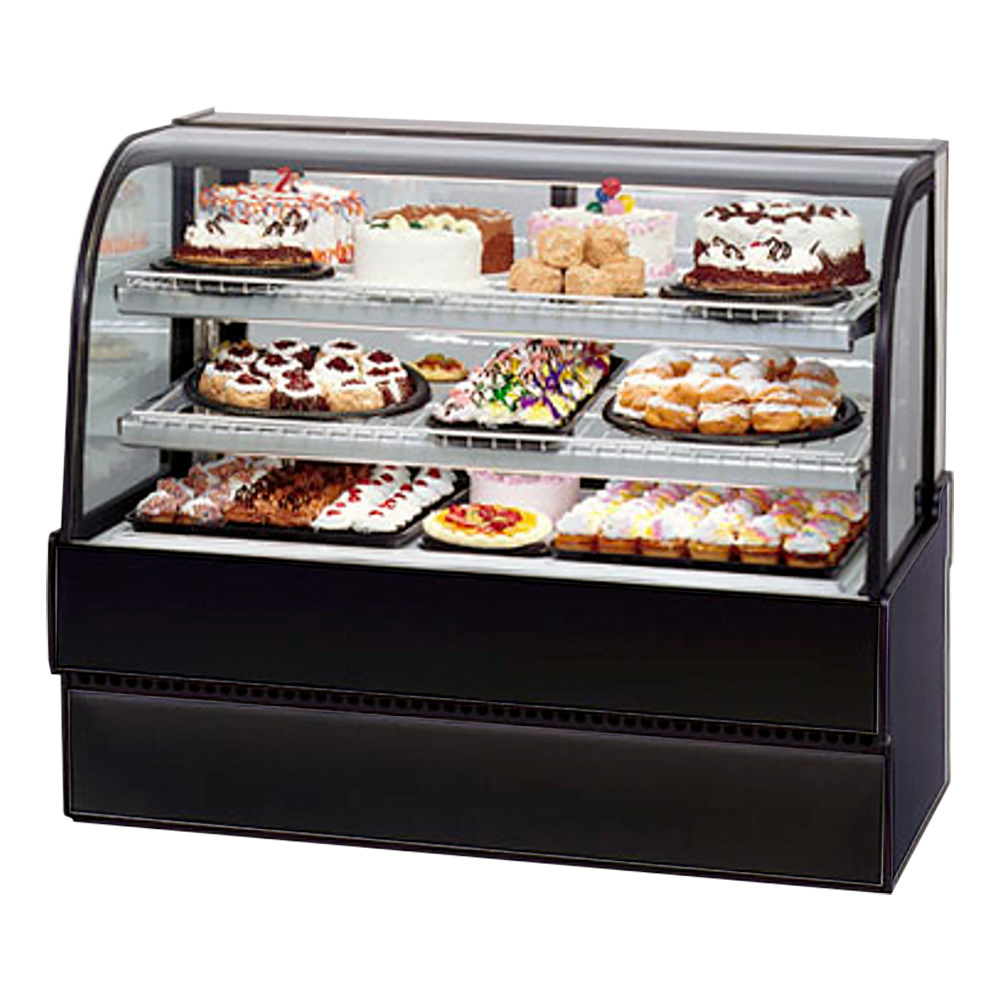 "Federal Industries CGR3642 36"" Full Service Bakery Case w/ Curved Glass - (3) Levels, 120v"