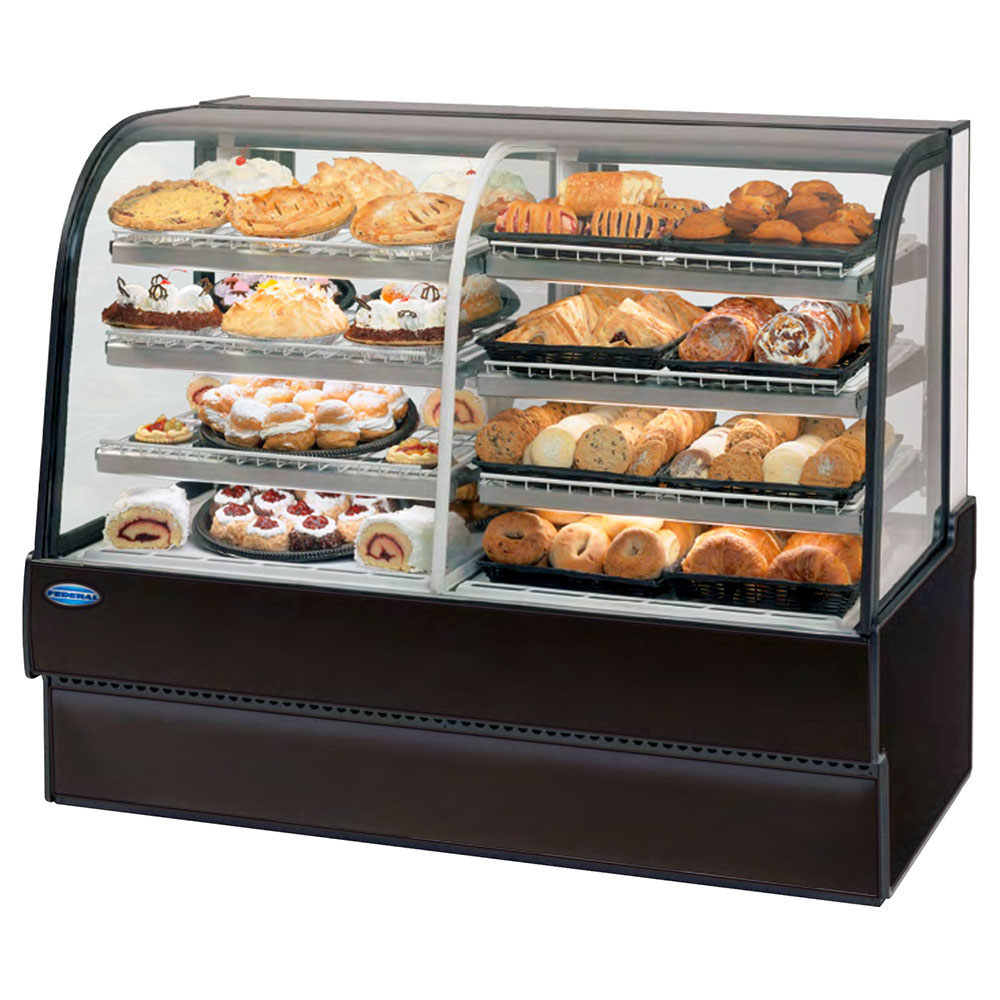 """Federal CGR5948DZ 59"""" Full Service Bakery Case w/ Curved Glass - (4) Levels, 120v"""