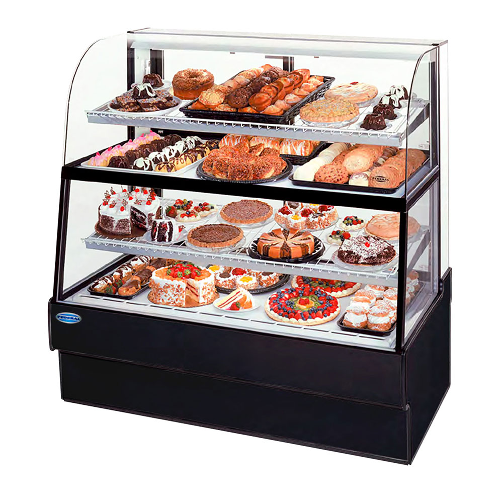 "Federal CGR7760DZH 77"" Full Service Bakery Case w/ Curved Glass - (4) Levels, 120v"