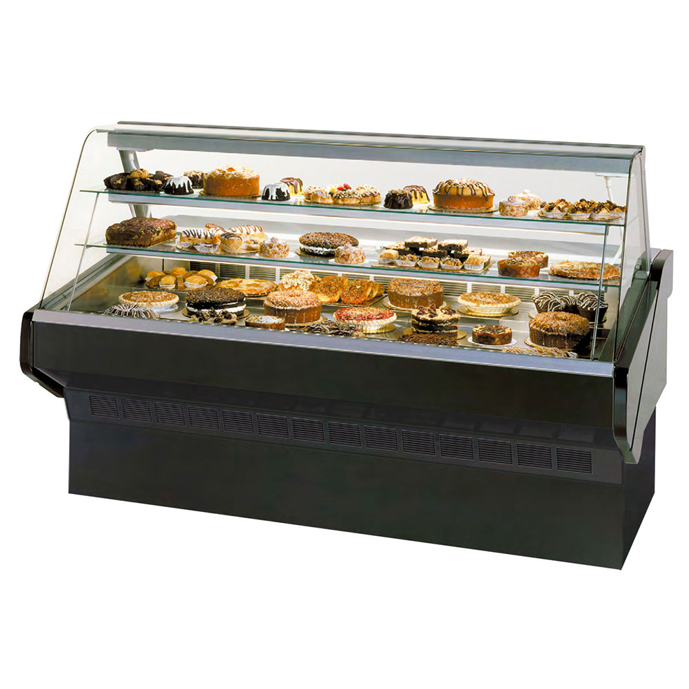 """Federal SQ-6B 72"""" Full Service Bakery Case w/ Curved Glass - (3) Levels, 120v"""
