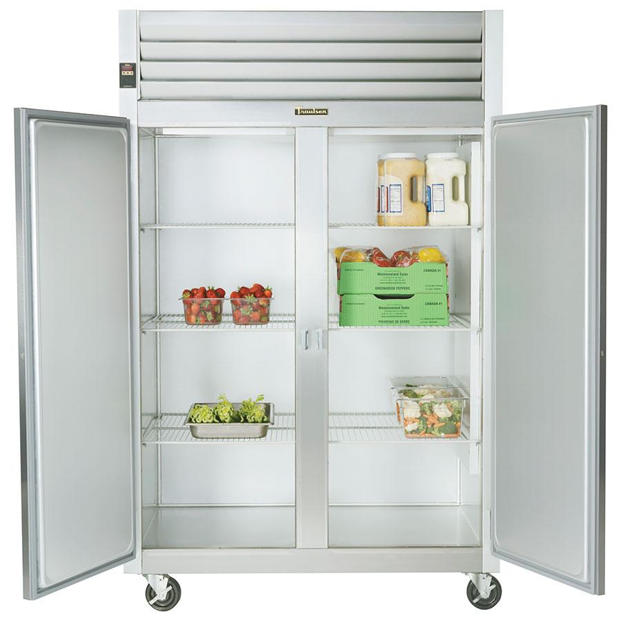 "Traulsen G20014P 53"" Two Section Pass-Thru Refrigerator, (2) Solid Door, 115v"