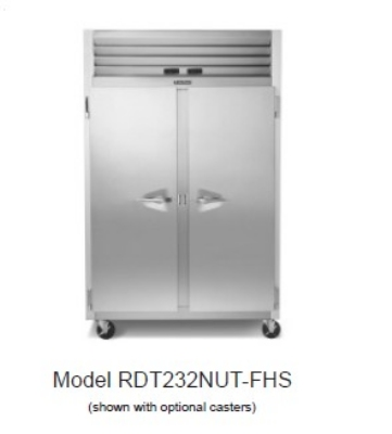 "Traulsen RDT232NUT-HHS 53"" Two Section Commercial Refrigerator Freezer - Solid Doors, Top Compressor, 115v"