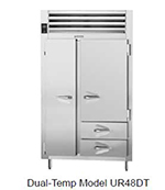 Traulsen UR48DT-6 28.8-cu ft Two Section Commercial Refrigerator Freezer - Solid Doors, 2-Drawer, Top Compressor, 115v
