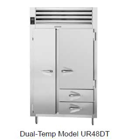 Traulsen UR48DT-6 28.8-cu ft Two Section Commercial Refrigerator Freezer - Solid Doors, 2-Drawer, Top Compressor, 115v