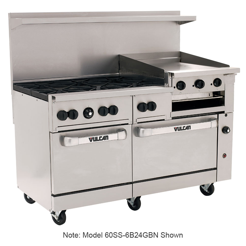 "Vulcan-Hart 60SS6B24GB 60"" 6-Burner Gas Range with Griddle & Broiler, LP"